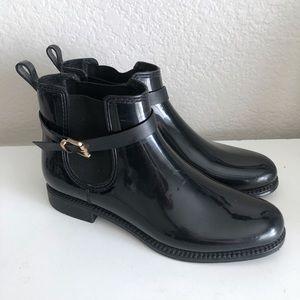 Henry Ferrera Rain Boots Black Chelsea Ankle Shiny